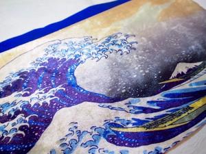 【Hokusai】ブルー北斎波デザイン半幅帯4m
