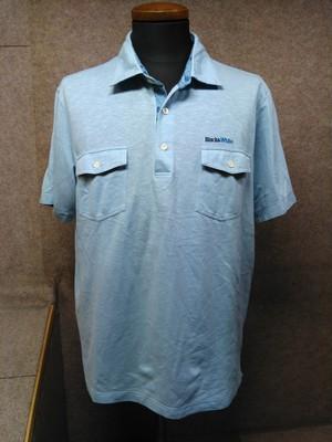 ブラック&ホワイト メンズ ポロシャツ LL 水色 麻混 mu876e