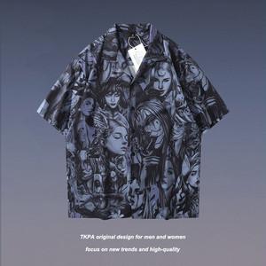 【トップス】ストリート系半袖シングルブレスト折り襟男女シャツ48369780