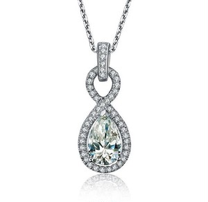 モアサナイト ペアシェイプ 1カラット ダイヤモンド ネックレス 18k