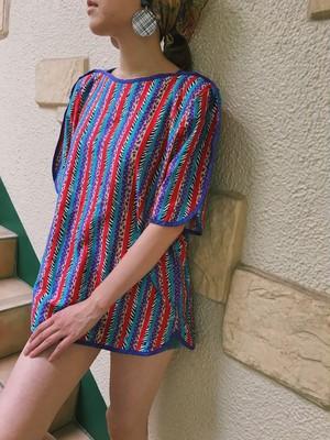 Jeanne Marc animal × dots stripe cotton tops ( ジェーン マーク アニマル柄 × ドット柄 ストライプ コットン トップス