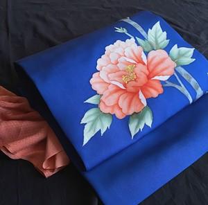 〈牡丹模様の名古屋帯〉青い帯 塩瀬 花柄 正絹 3シーズンOK 送料無料