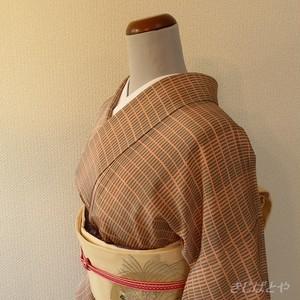正絹 ピンクベージュとグレーの格子の小紋 単衣