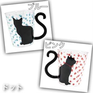 ★既製品★黒猫マグカップルグラス「ドット」*全2種
