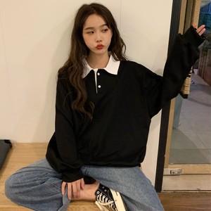 【トップス】長袖韓国風ファッション合わせやすい配色パーカー
