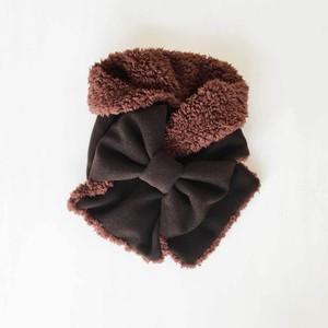 リボンマフラー(チョコブラウン色のヘリンボーン柄ウール × ブラウンのプードルファー)