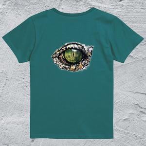 Alligator-eye Tシャツ/アップルグリーン*レディース【色鉛筆手描きデザイン】