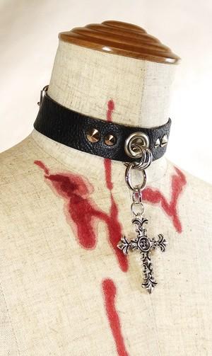 レザーチョーカーバイナリークロス ダークファッション ゴス 十字架 アバンギャルド