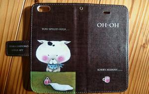 チョークアート 猫とミルク iPhone手帳型ケース iPhone6/6Sケース