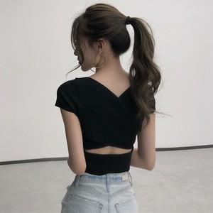 【トップス】夏新作ファッションセクシー着瘦せニットTシャツ