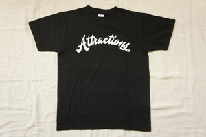 Attractions Logo S/S Tee(Body:Black, Print:White)