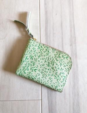シン L字財布 カードケース付き 本革 ボタニカル グリーン
