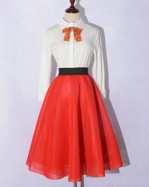 ハニカムボンディングフレアスカート(red)