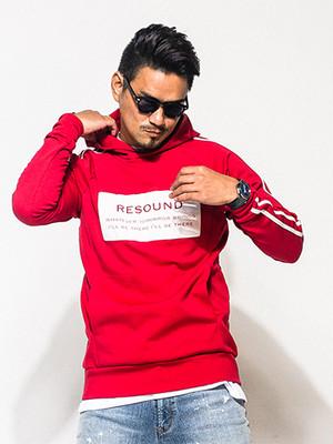 RESOUND CLOTHING(リサウンドクロージング) インプルオーバーパーカ -CK-LINE P/O Hoodie/RED メンズ