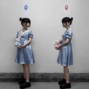 【即納】【限定1着ブルー/ Lサイズ】セーラー サテン ワンピース