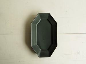 八角長方皿   深緑マット釉