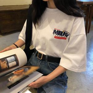 【トップス】韓国風ゆったり新作春夏合わせやすいプリントTシャツ