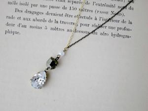 輝くスワロフスキー&天然石ネックレス Starry drop ネックレス