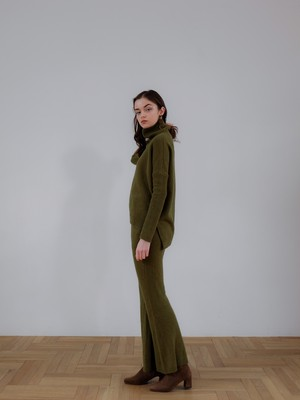 knit flare pants(green)