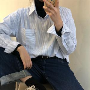 【トップス】カジュアルPOLOネックストライプ柄ブレストシャツ26647011