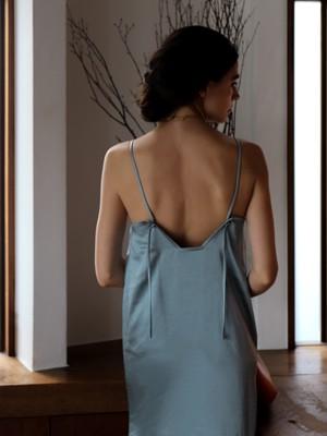 satin camisole one-piece(blue)