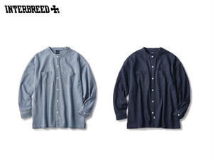 INTERBREED|Washed Denim Stand Collar Shirt