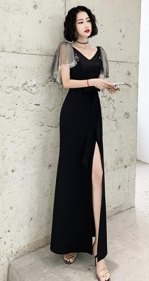 ブラック ロングドレス マット パーティードレス TM0220