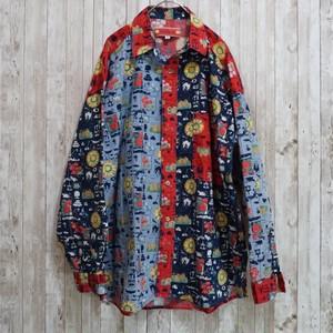 ユーロ クレイジーパターン植物柄コットンシャツ [C219]