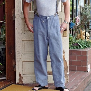 1950s Swiss Army Denim Over-Pants / スイス軍 ヴィンテージ デニム オーバー パンツ / サスペンダー付き