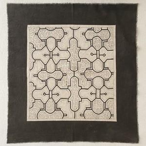 泥染め布中型 60-2 途中図太枠2 テーブルセンター 額装