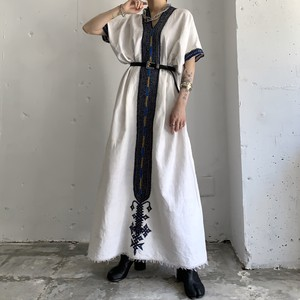 vintage linen caftan maxi dress
