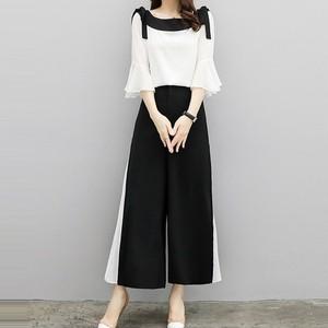 【セットアップ】ファッションスカタップスリーブシャツ+切り替えガウチョパンツ二点セット28281502