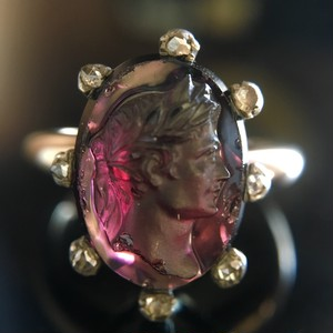 Rhodolite  Garnet & Rose cut Diamond  Cameo Ring