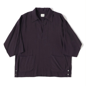 【FILL THE BILL】《MENS》RAYON SILK SKIPPER SHIRTS - PURPLE