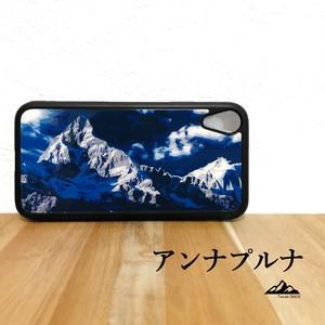 アンナプルナ ヒマラヤ山脈 ネパール 強化ガラス iphone Galaxy スマホケース アウトドア 登山 山 ブルー ネイビー 青