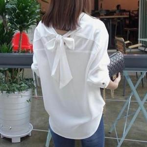 【tops】シャツ7分袖無地スウィートVネックリボンシングルブレストカジュアル