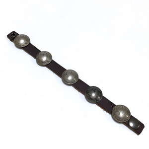 Vintage Old Five Coins Leather Bracelet