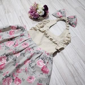 《三角巾付き》 ロマンティック バラ柄 女の子エプロン(リネンコットン)100-120cm