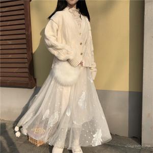 【セットアップ】無地スウィート学園風Vネックシングルブレストニットセーター+メッシュプリーツスカート
