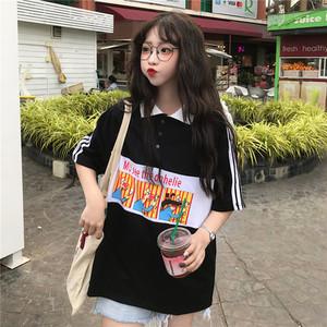 【トップス】シンプルカートゥーンプリント半袖Tシャツ