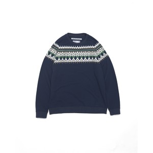 ROUND YOKE MULTI JACQUARD PRINTED SWEAT - NAVY