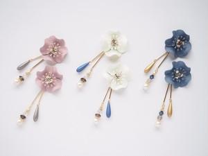 【8CP-111】2wayお花とゆれるロングデザインピアス(イヤリング)