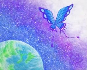 蝶々と地球の絵 アクリル画