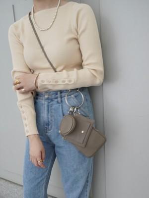 【予約】button sleeve rib knit / beige (9月中旬発送予定)