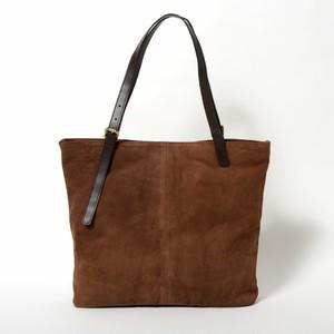 【牛スウェード】シンプルトートバッグ〈ブラウン/BROWN〉W5941 牛革 スウェード 軽い A4サイズ可能 シンプル