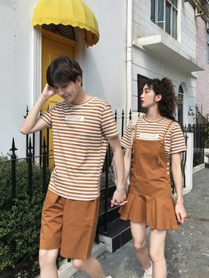 ブラウンボーダー Tシャツ サロペットスカート 0761 メンズハーフパンツ セットアップ カップル ペアルック リンクコーデ カジュアル お揃い デート