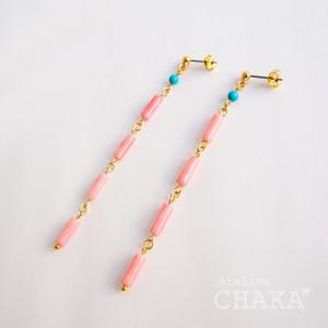 MONIR/ピンク珊瑚のピアス