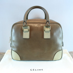 .CELINE BICOLOR LEATHER HAND BAG MADE IN ITALY/セリーヌバイカラーレザーハンドバッグ 2000000036892