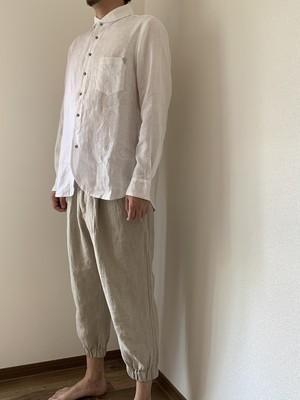 メンズ ロングスリーブリネンシャツ