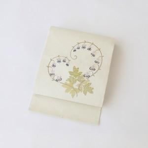 2222 未使用◆蘭刺繍九寸名古屋帯
